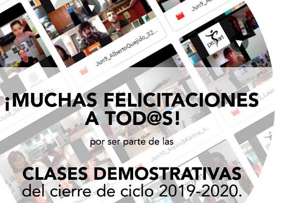 CLASES DEMOSTRATIVAS Y EXÁMENES COMO PARTE DEL CIERRE DE CICLO DEL 8 AL 12 Y DEL 22 AL 26 DE JUNIO.